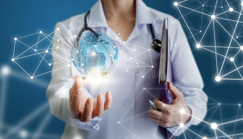Doctor shows the global network. stock photo