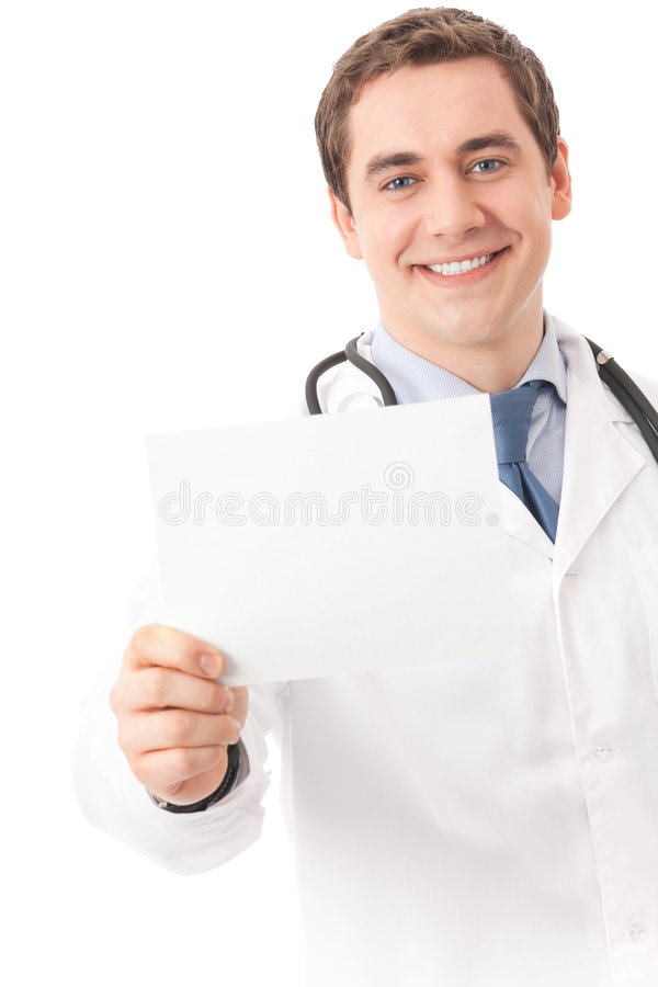 Doctor with signboard, isolated stock photo
