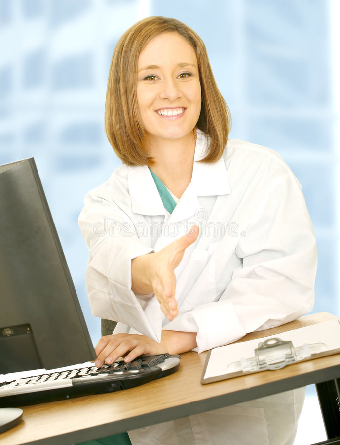 Download Doctor Sit And Offer Shake Hand Stock Photo - Image of light, computer: 5692090