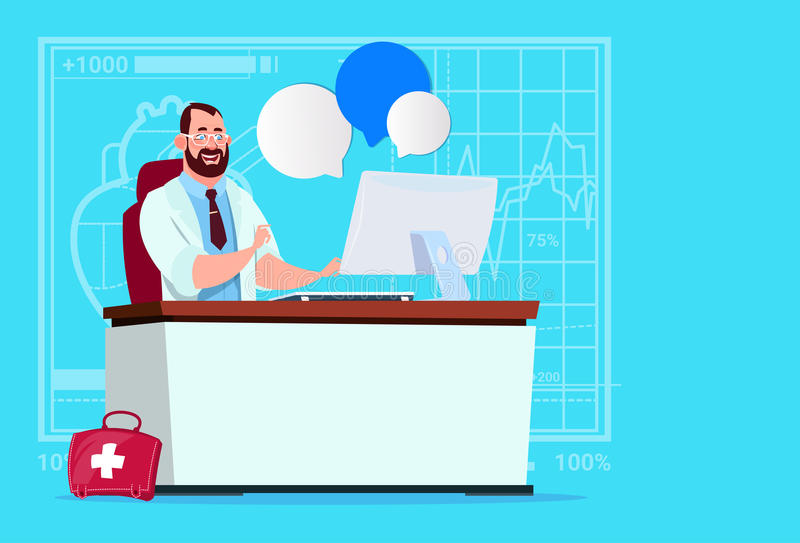 Doctor Sitting At Computer Online Consultation Medical Clinics Worker Hospital. Flat Vector Illustration vector illustration