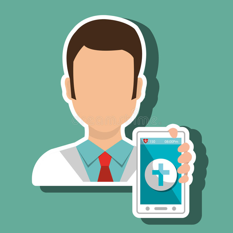 Doctor smartphone medical service. Illustration eps 10 royalty free stock photo