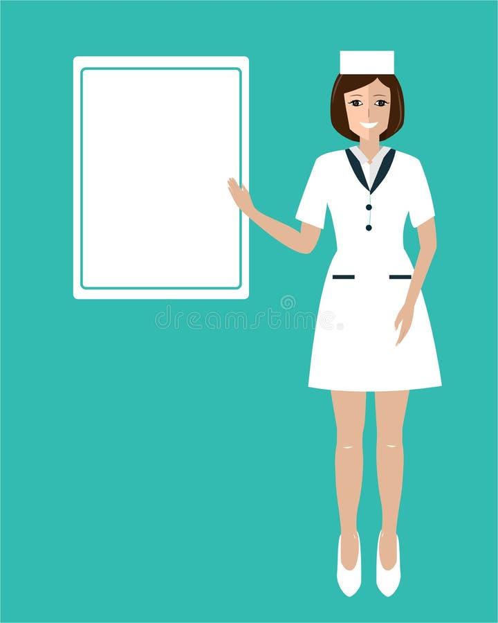 Doctor sonriente amistoso y de la belleza de la mujer que muestra al tablero Ejemplo plano del vector aislado en azul Modelo m?di stock de ilustración