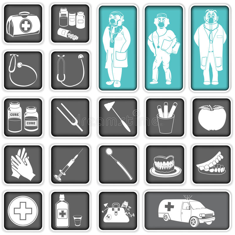 Doctor squared icons. Collection of doctor squared icons stock illustration
