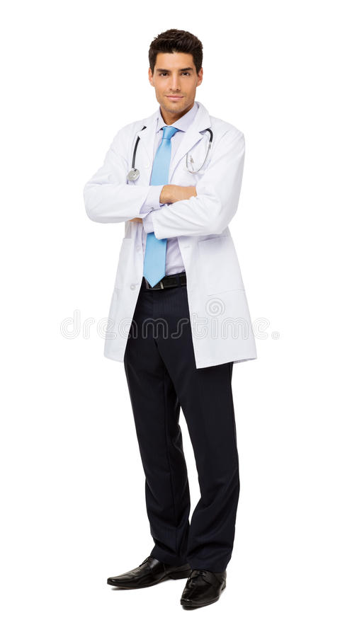 Doctor Standing Arms Crossed Against White Background royalty free stock images
