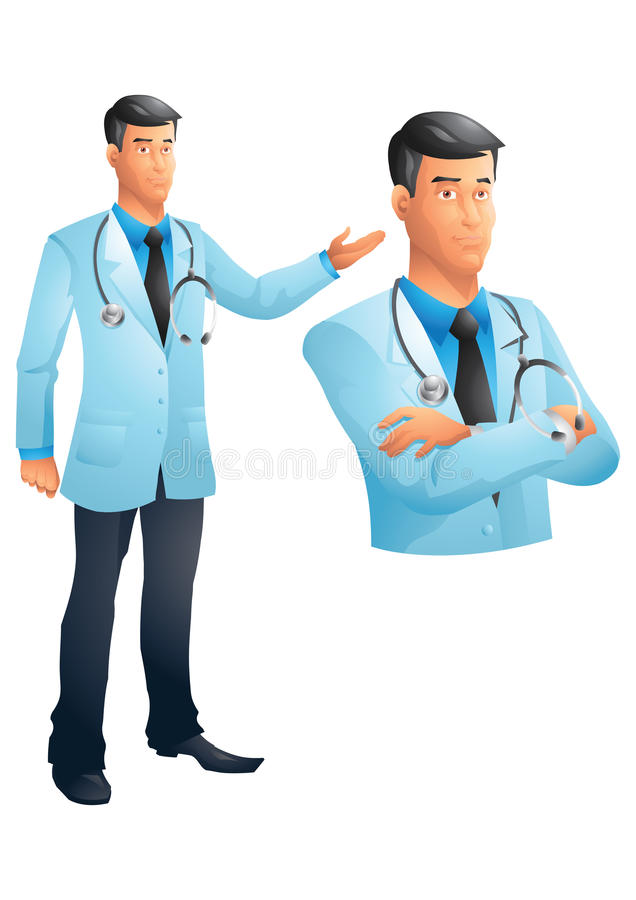 Doctor standing and bust with stethoscope, arms crossed, vector illustration