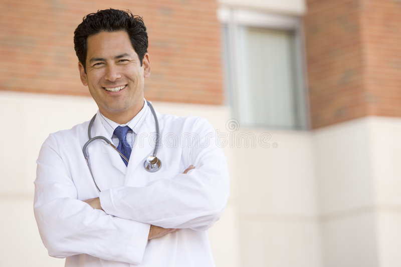 Doctor Standing Outside A Hospital stock images