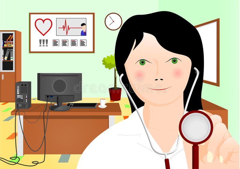 Doctor with stethoscope. In emergency room, cartoon illustrations royalty free illustration