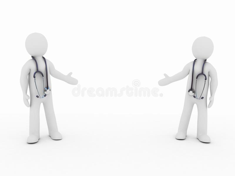 The doctor and stethoscope. On a white background, 3D stock illustration