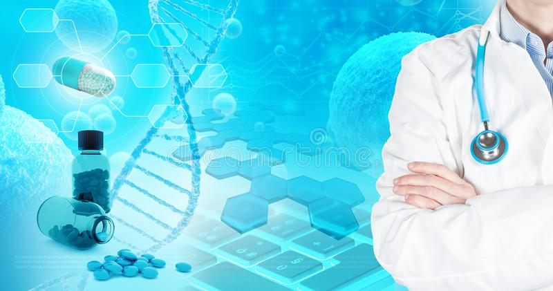 Pharmaceutical research applications abstract concept royalty free illustration