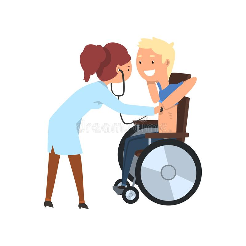 Doctor with stethoscope examining disabled patient, rehabilitation of disabled people concept vector Illustration on a. Doctor with stethoscope examining royalty free illustration