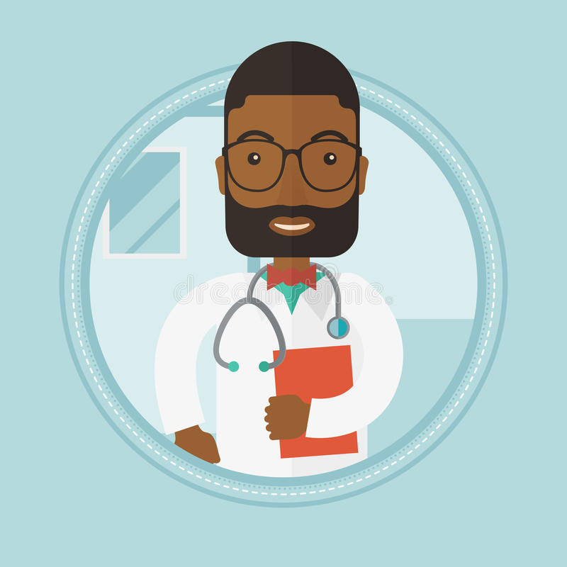 Doctor with stethoscope and file. An african-american doctor with stethoscope and a file in hospital. Male doctor carrying folder of patient or medical stock illustration