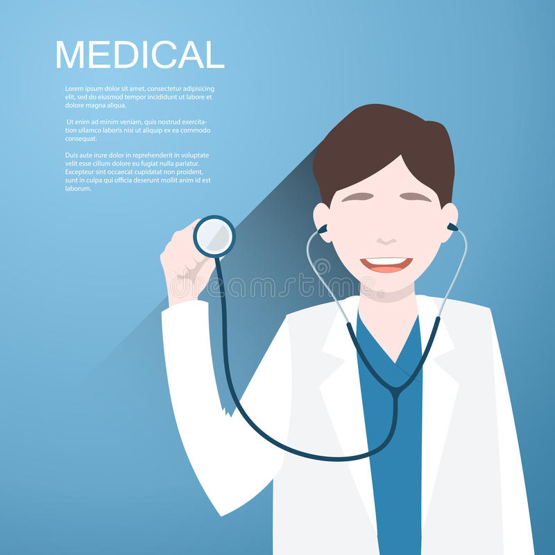 Doctor with a stethoscope in the hands on background. Vector illustration stock illustration