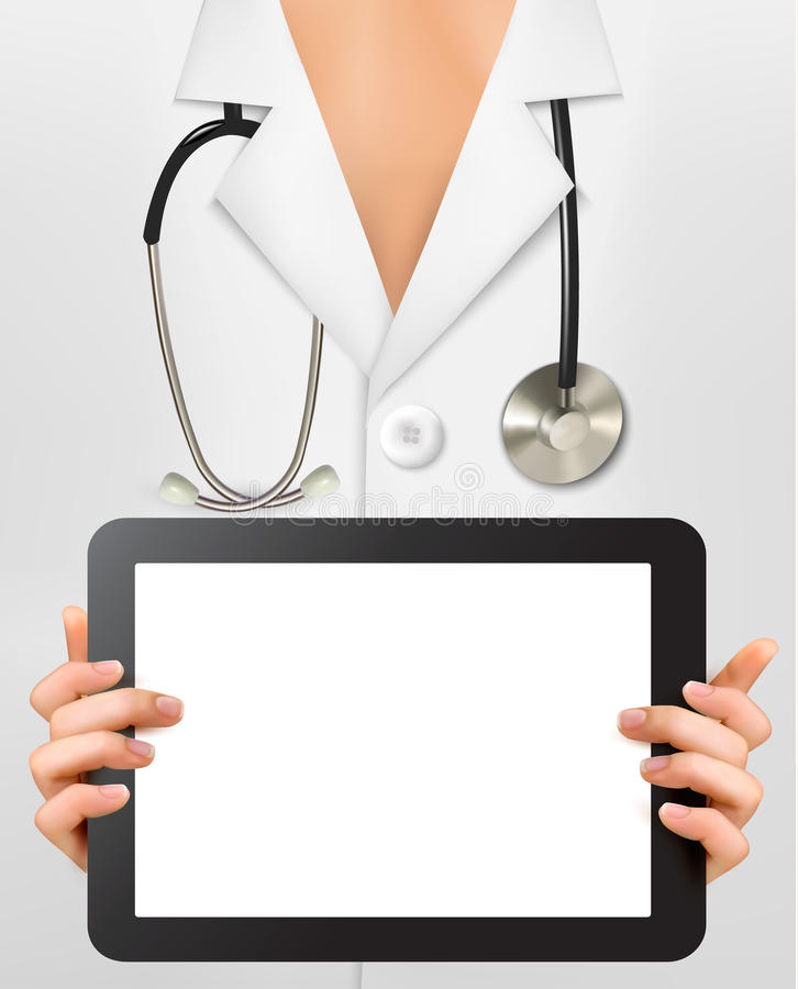 Doctor with stethoscope holding blank digital tabl royalty free illustration