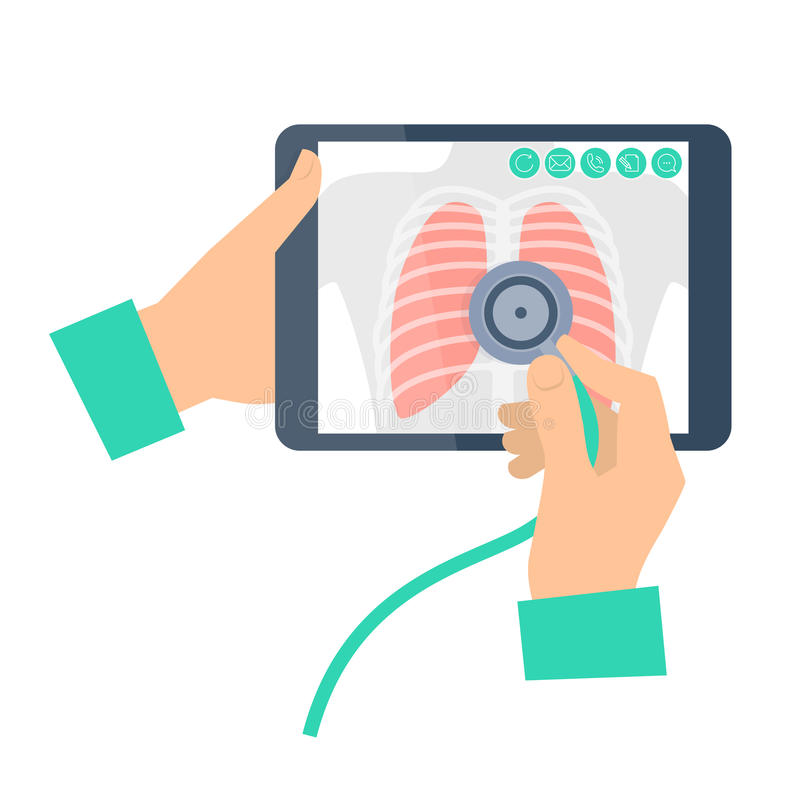 Doctor with stethoscope holding a tablet computer with lung radiography. Telemedicine, telehealth flat concept illustration. Medic`s hands, chest x-ray image royalty free illustration