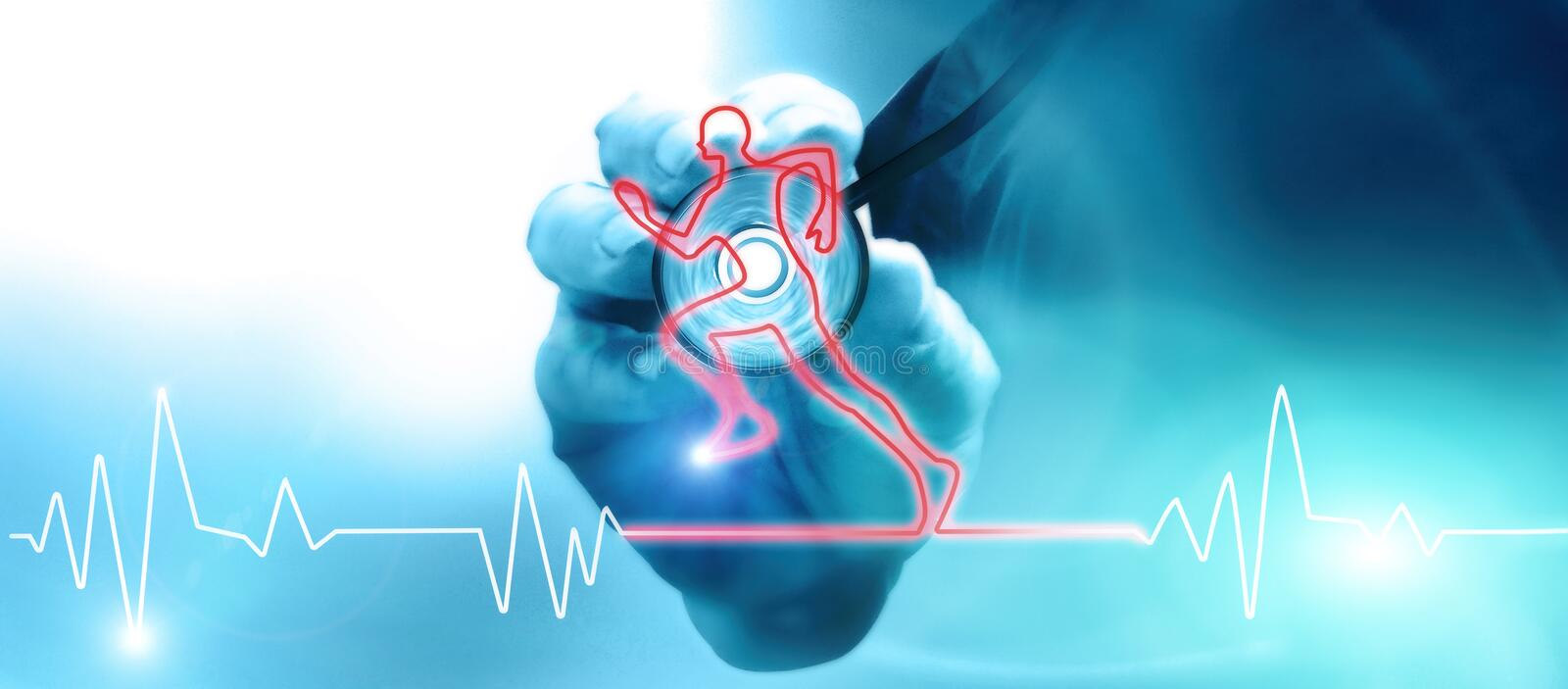 Doctor with stethoscope listening to the heart beat. Heart beat in the shape of a running athlete. Medical examination of fitness for physical and motor royalty free stock photography