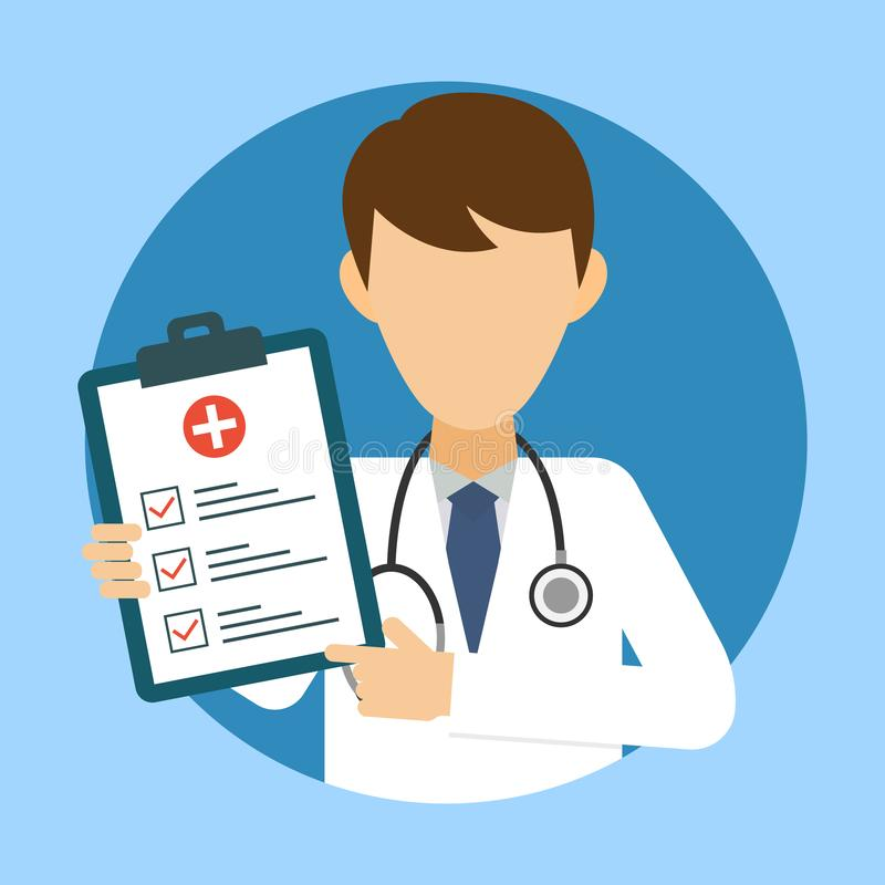 Doctor with stethoscope and medical test. Medic icon in flat style. Health care services concept. Banner with online doctor royalty free illustration