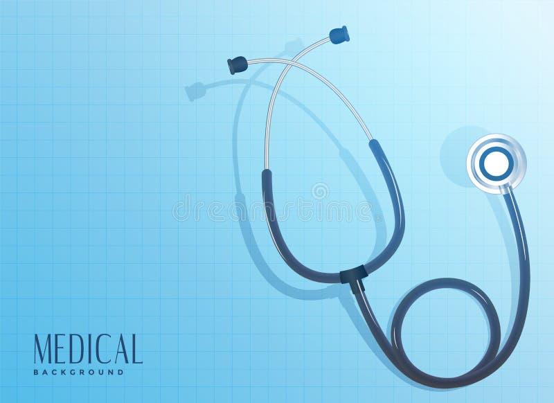 Doctor stethoscope object on blue background. Vector stock illustration