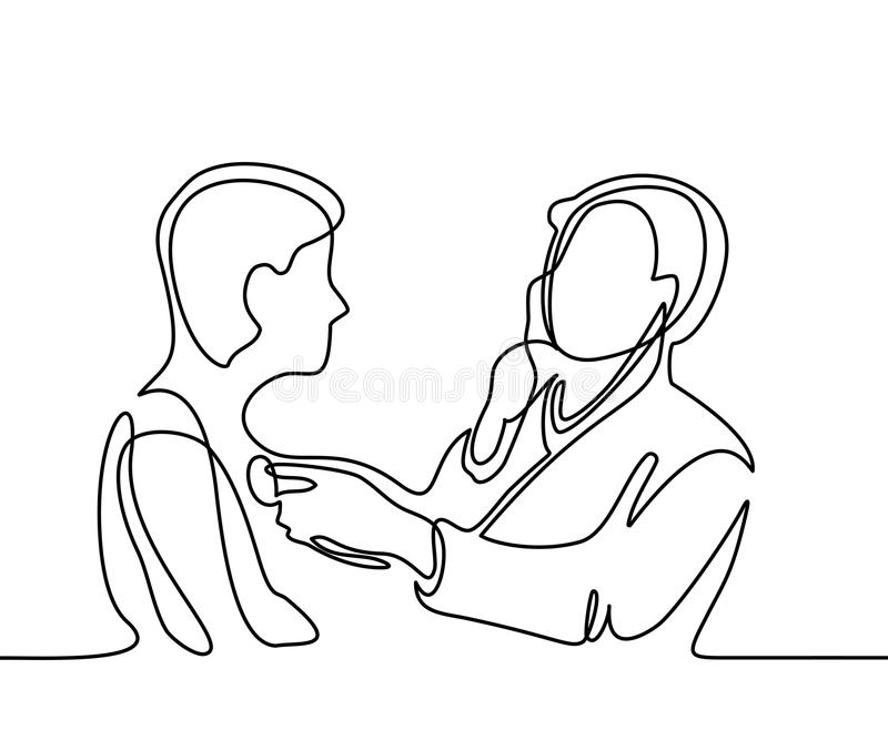Doctor with stethoscope treat patient man. Continuous line drawing. Vector illustration on white background vector illustration