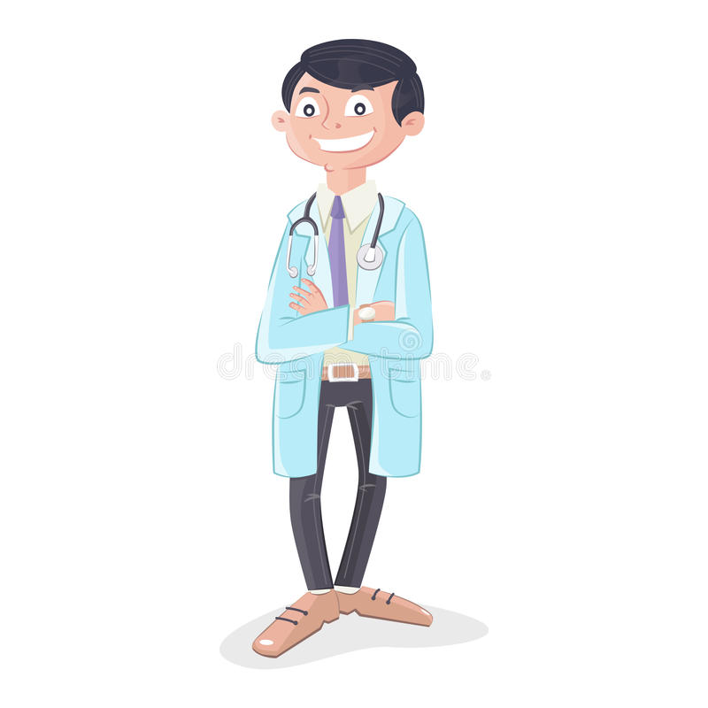 Doctor with stethoscope and uniform standing stock illustration