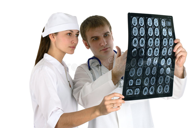 Doctor sure. Discussing x-ray picture doctor medicine stock photo