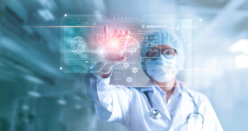 Doctor, surgeon analyzing patient brain testing result and human royalty free stock image