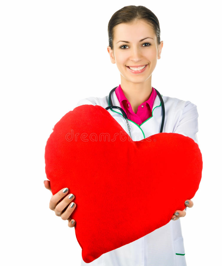 Doctor taking care of red heart symbo