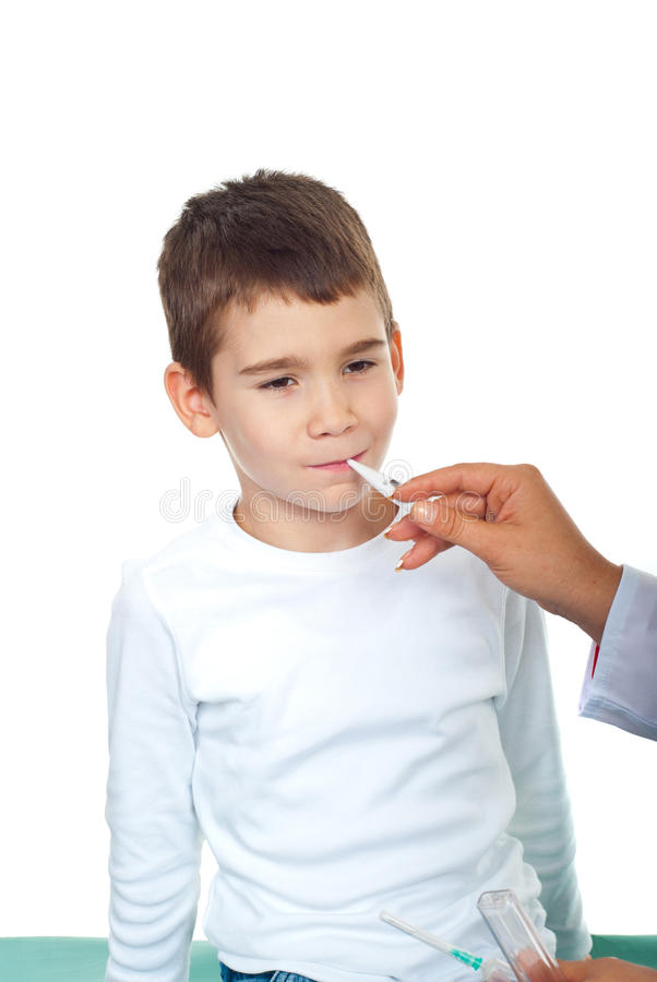 Download Doctor Taking Temperature To A Child Stock Photo - Image of holding, diagnosis: 16301158