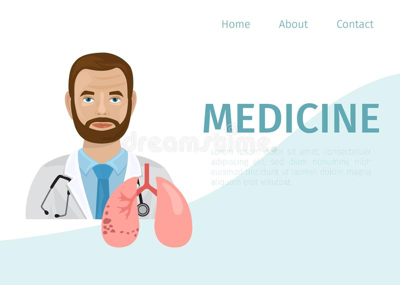 Doctor therapist and human lungs cartoon vector illustration. Concept of pulmonary fibrosis, tuberculosis, pneumonia royalty free illustration