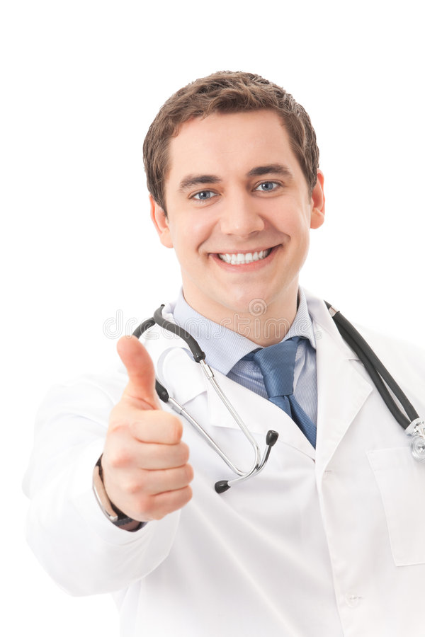Doctor with thumb up, isolated stock photos