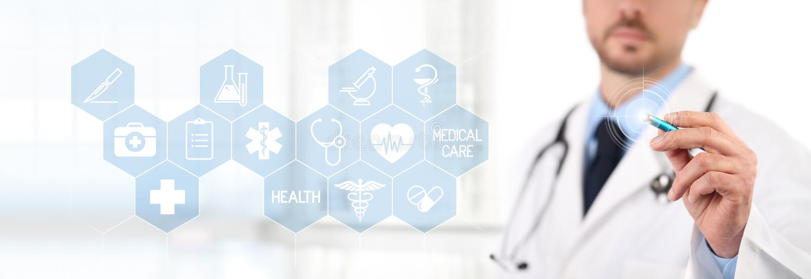 Doctor touch screen with a pen, medical symbols icons on background health care concept stock image