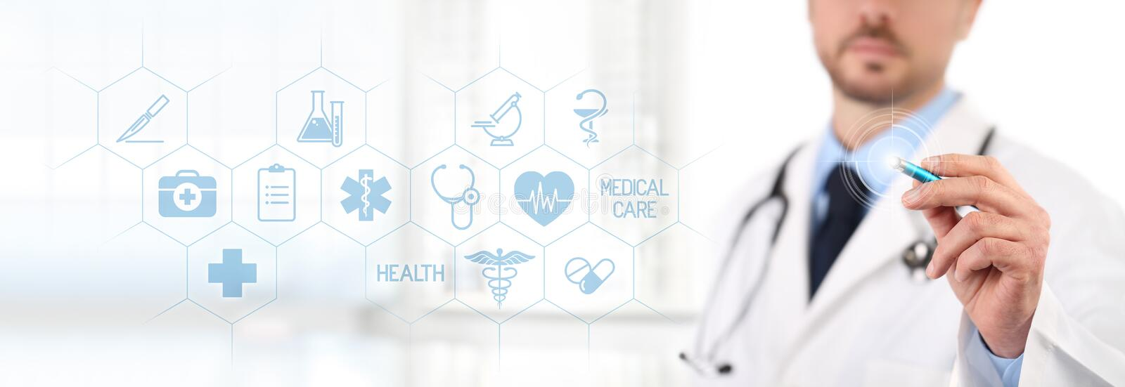 Doctor touch screen with a pen, medical symbols icons on background health care concept royalty free stock photography