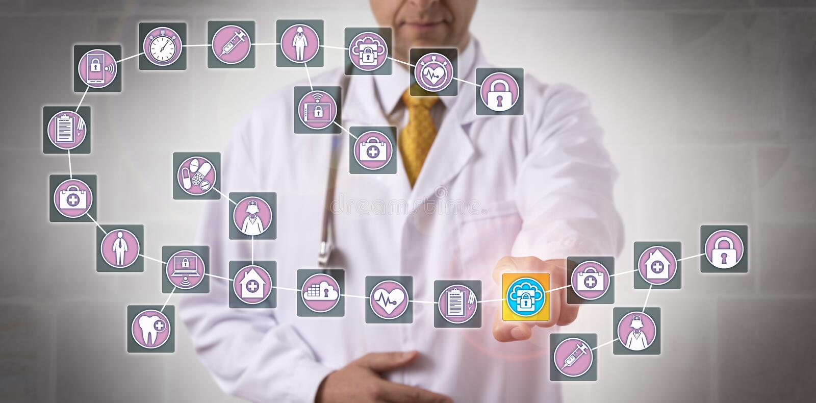 Doctor Touching Data Block In Medical Blockchain. Unrecognizable male physician is highlighting a data block record in a healthcare blockchain. Health care IT
