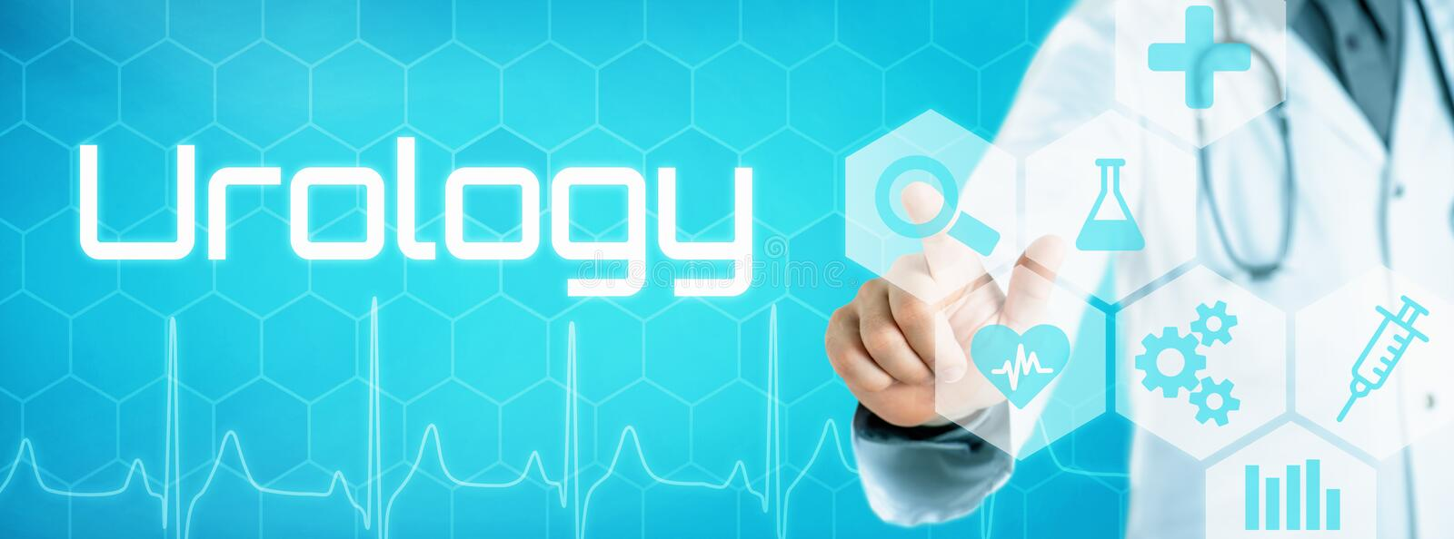 Doctor touching an icon on a futuristic interface - Urology royalty free stock image