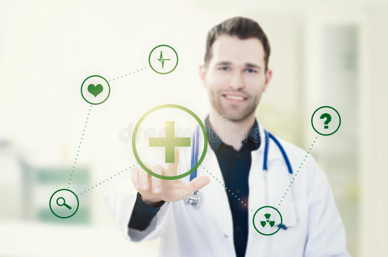 Doctor touching screen with icons. Futuristic medicine concept. Doctor touching screen with icons. Futuristic medicine. Doctor medical technology icon healthcare stock photography