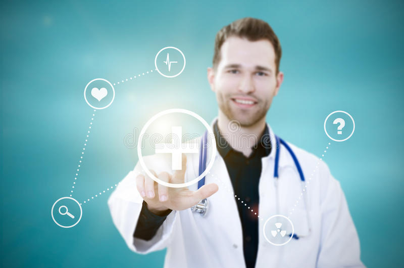 Doctor touching screen with icons. Futuristic medicine concept. Doctor touching screen with icons. Futuristic medicine. Doctor medical technology icon healthcare stock photos