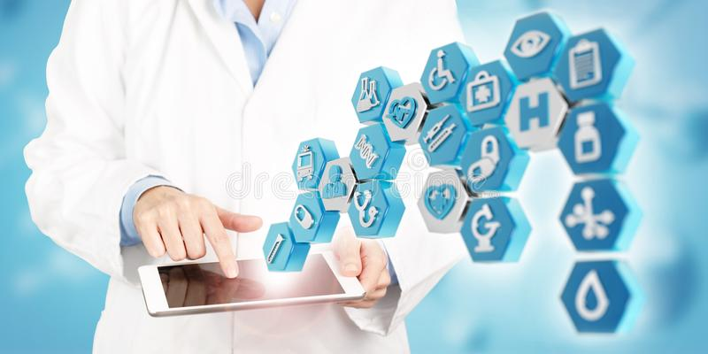 Medical apps and new healthcare technology concept. Doctor touching a tablet screen and 3d illustration of medical icons on blue background stock image