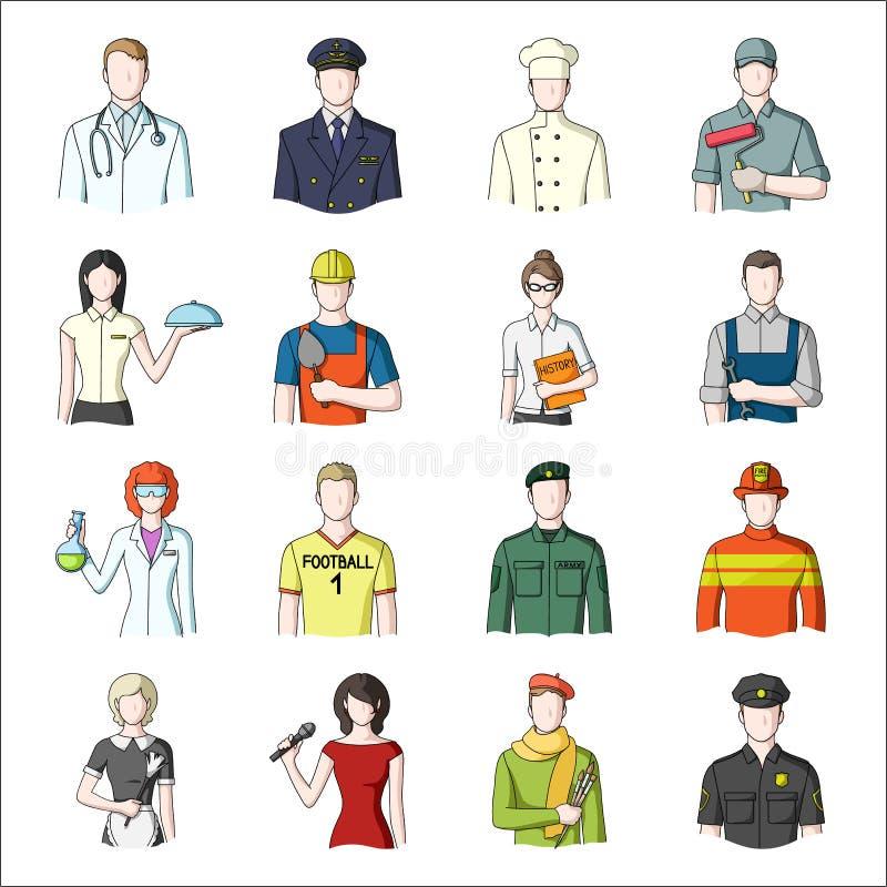 Doctor, trabajador, militares, artista y otros tipos de profesión Iconos determinados de la colección de la profesión en vector d ilustración del vector