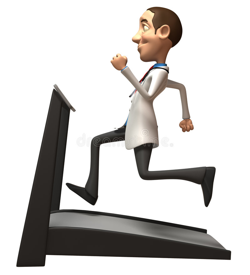Doctor on a treadmill royalty free illustration