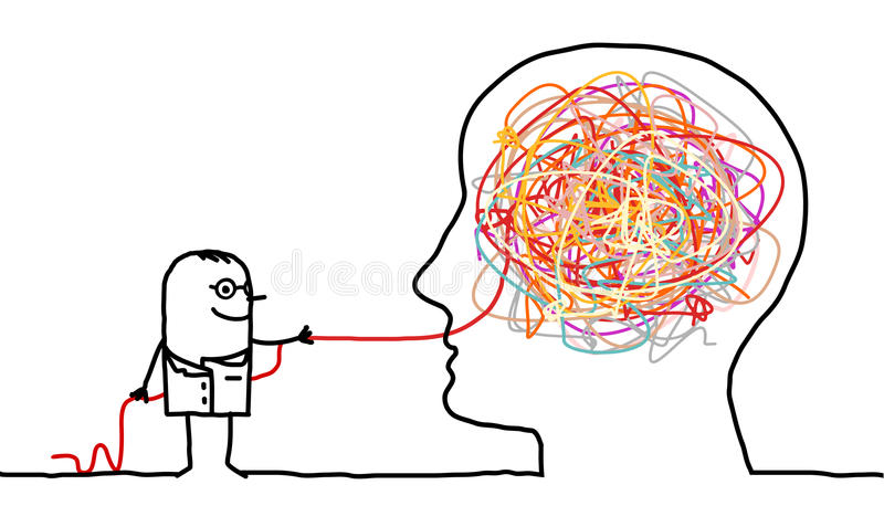 Doctor untangling a brain knot royalty free illustration