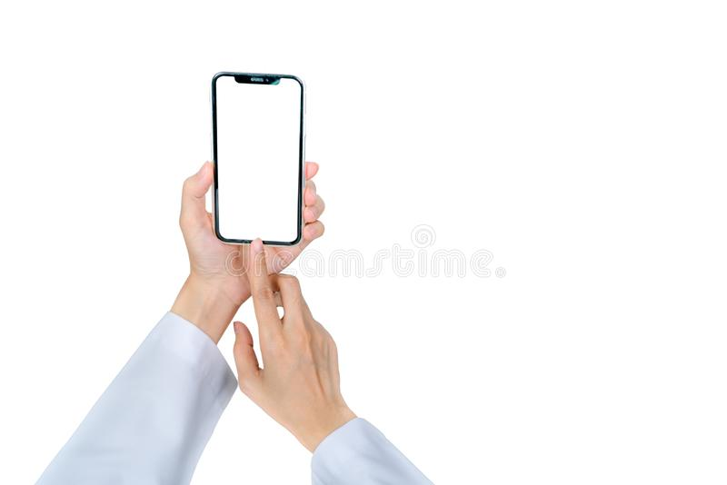 Doctor use mobile phone to communicate with nurse or healthcare providers to consult about patients information in hospital. stock photos