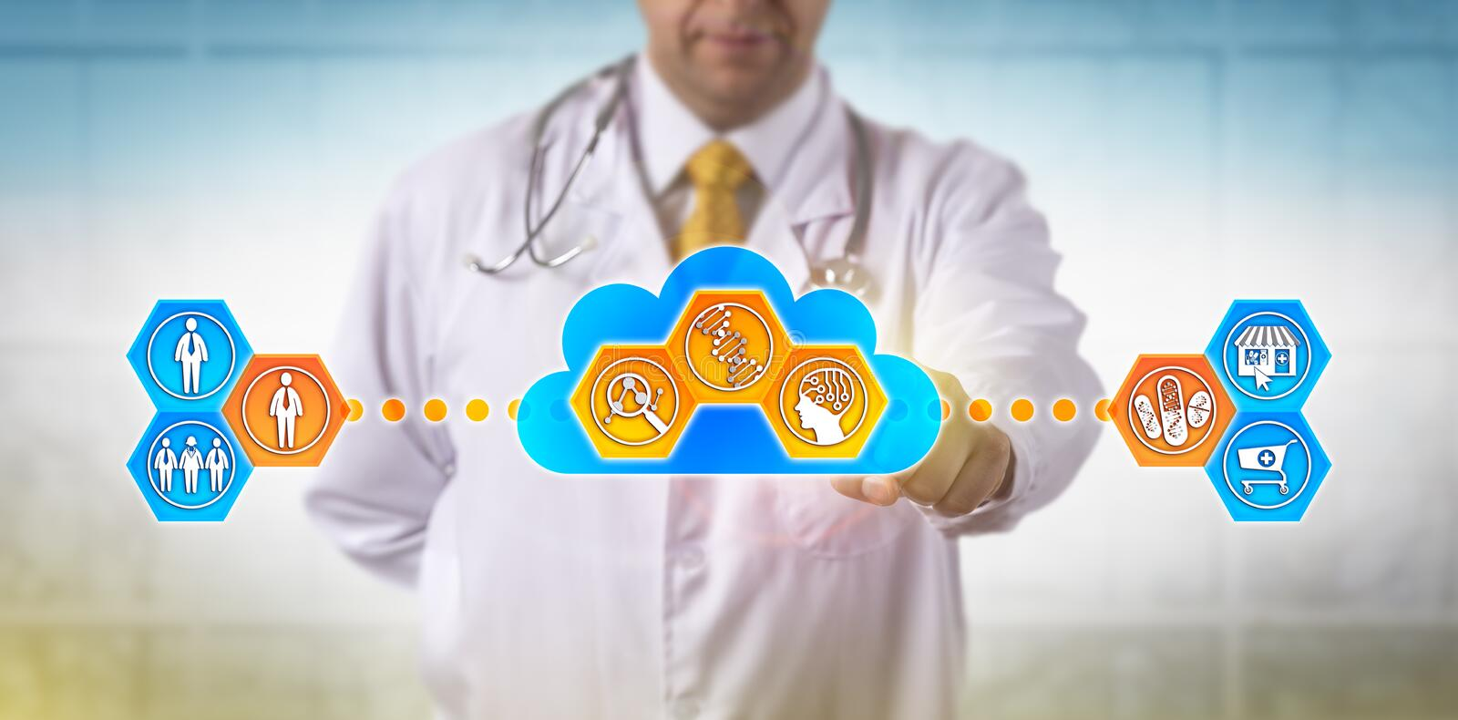 Doctor Using Cloud Based Software For DNA Test. Unrecognizable doctor using cloud based software for faster analysis of genomic information to decide on drug stock images