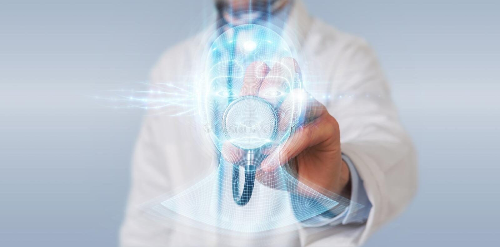 Doctor using digital artificial intelligence head interface 3D rendering. Doctor on blurred background using digital artificial intelligence head interface 3D vector illustration