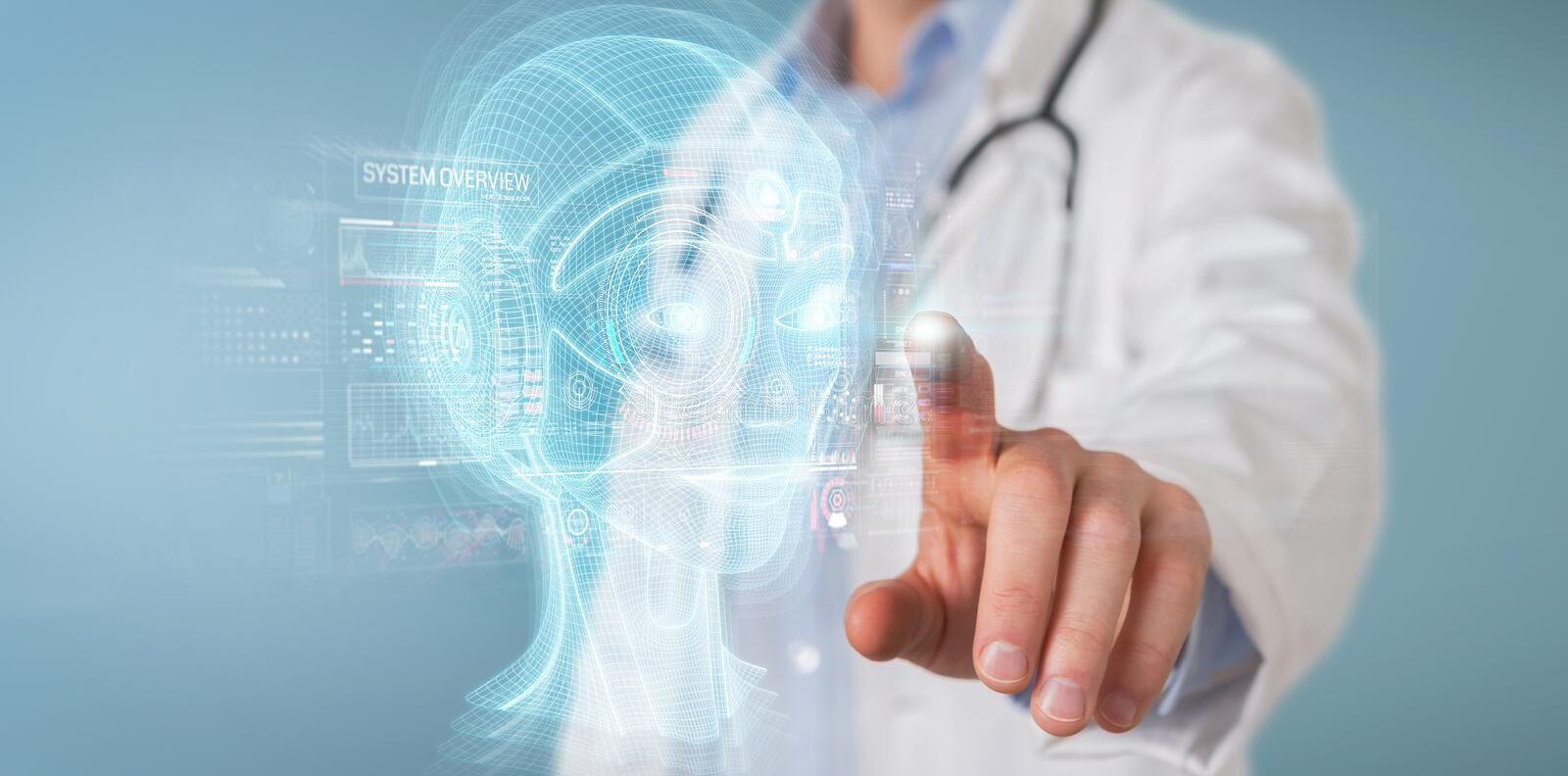 Doctor using digital artificial intelligence head interface 3D rendering. Doctor on blurred background using digital artificial intelligence head interface 3D stock illustration