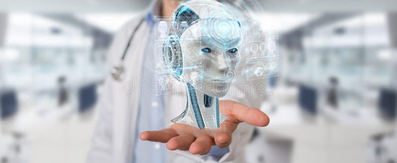 Doctor using digital artificial intelligence interface 3D render. Doctor on blurred background using digital artificial intelligence interface 3D rendering vector illustration