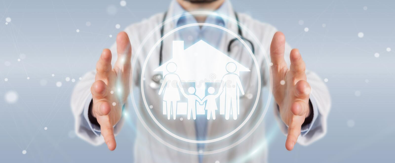 Doctor using digital family care interface 3D rendering stock illustration