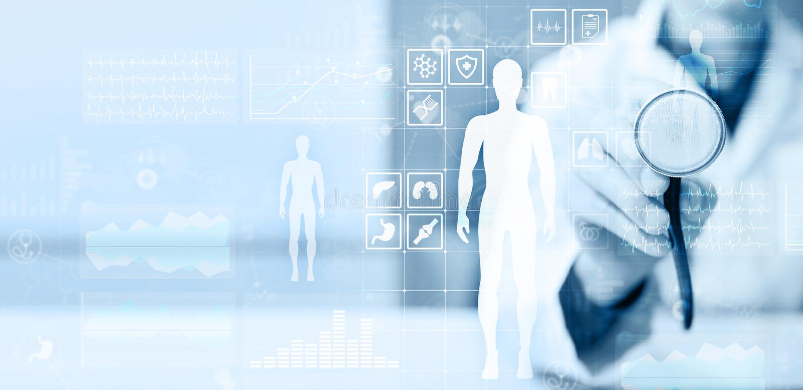Doctor using modern computer with Medical record diagram on virtual screen concept. Health monitoring application. stock images