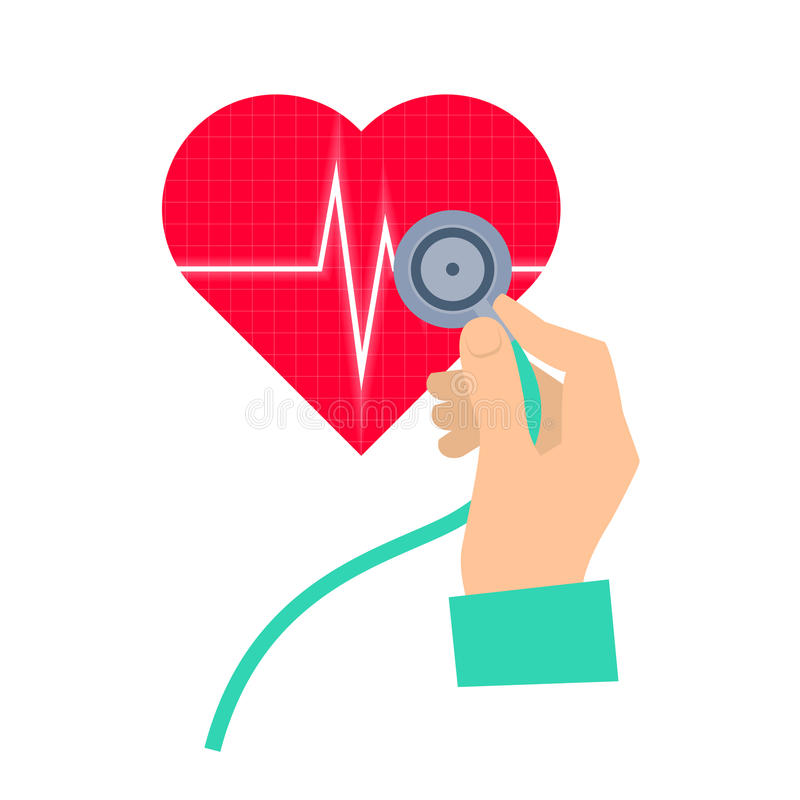 Doctor using a stethoscope hears a heart pulse. Medicine and health care flat concept illustration. Hand, stethoscope and heart with pulse. Vector element for vector illustration