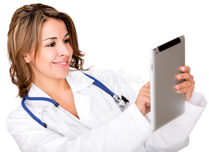 Download Doctor Using A Tablet Computer Stock Photo - Image of robe, physician: 28065560
