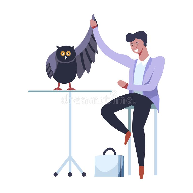 Doctor veterinarian male with owl curing broken wing royalty free illustration