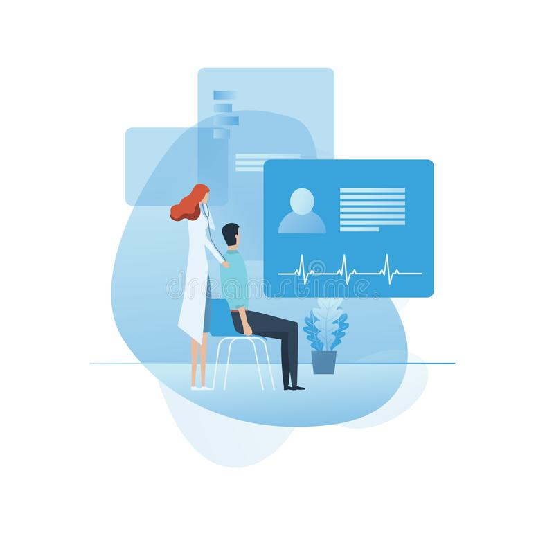 Doctor visit, medical, exam, consultation or checkup concept, female doctor. Medicine illustration, isolated background. royalty free illustration